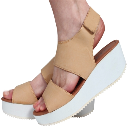 CS13 LADIES VELCRO STRAP PEEPTOE FLATFORM SHOES IN NUDE
