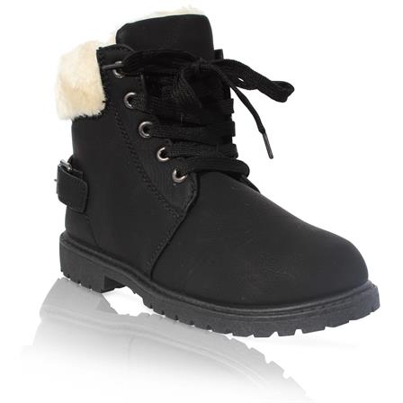 MK-40 GIRLS KIDS CHILDRENS FURLINED GRIP SOLE WINTER WARM ANKLE BOOTS IN BLACK