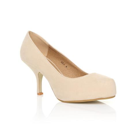 ADA LADIES MID HEEL STRAPLESS CASUAL SMART WORK COURT SHOES IN NUDE SUEDE