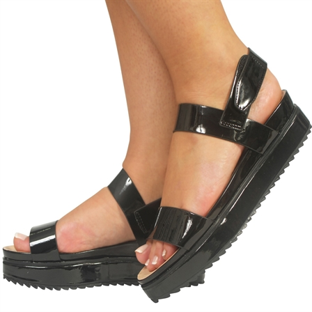 CS16 LADIES FLATFORMS SUMMER VELCRO BACK STRAP SANDALS SHOES IN BLACK PATENT