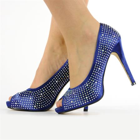 JANA LADIES DIAMANTE HIGH HEEL BRIDAL PROM BRIDESMAID FORMAL PEEPTOE SHOES IN NAVY