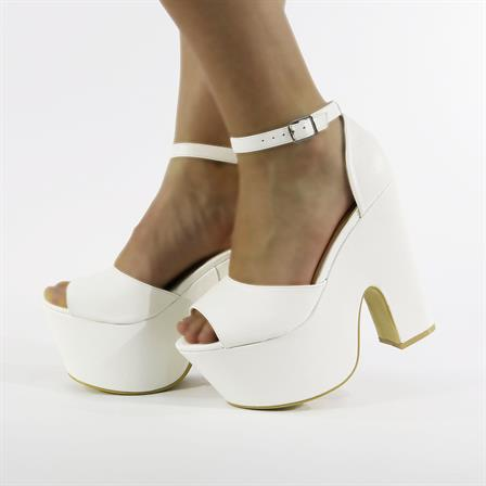 BLOSSOM LADIES CHUNKY WEDGED PLATFORM HIGH HEEL SANDALED SHOES IN WHITE