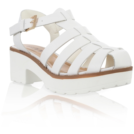 YASMIN LADIES BLOCKED PLATFORM MID HEEL CHUNKY SOLE ANKLE STRAP GLADIATOR SANDALS IN WHITE PU