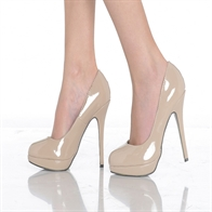 EVE LADIES  STILETTO HIGH HEEL COURT SHOES IN NUDE PATENT