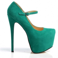 VIDA VERY HIGH STILETTO HEEL STRAPPED GOLD BUCKLE CONCEALED PLATFORM SHOES IN GREEN SUEDE