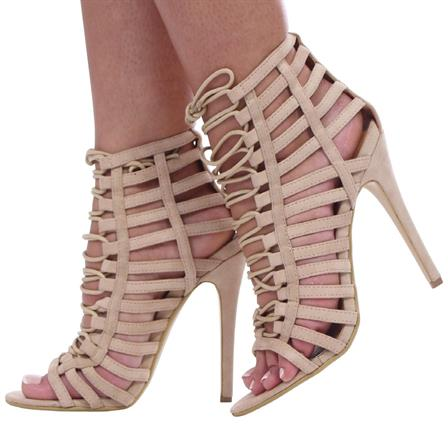 JANE LADIES LACE UP PEEP TOE HIGH STILETTO HEELS SHOES IN BEIGE SUED
