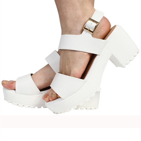 CS12 LADIES BUCKLED FASTENED STRAPPED CLEATED LOOKED SOLE MID PLATFORMED PEEPTOE SANDALED SHOES IN WHITE