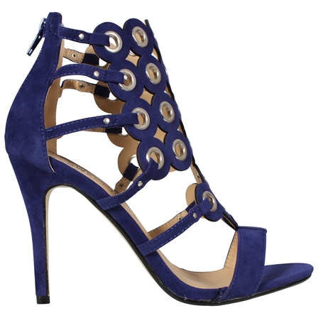 EVAN WOMENS LADIES SEXY HIGH STILETTO HEEL OPEN TOE SANDALS PARTY SHOES IN BLUE SUEDE