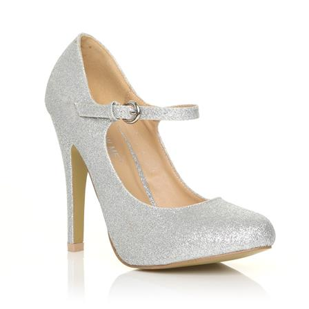 MISCHA NEW JERSEY ADJUSTABLE STRAP HIGH HEEL SHOES IN SILVER GLITTER