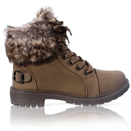 MK-30 LADIES FURLINED GRIP SOLE WINTER WARM ANKLE BOOTS IN KHAKI