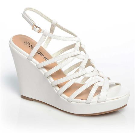 CHIPO LADIES WEDGE ANKLE STRAP PLATFORM SUMMER SHOES IN WHITE
