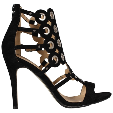 EVAN WOMENS LADIES SEXY HIGH STILETTO HEEL OPEN TOE SANDALS PARTY SHOES IN BLACK SUEDE