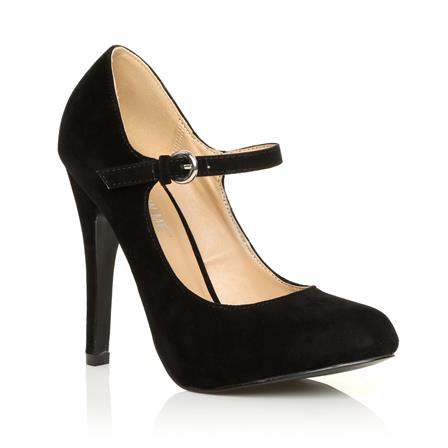 MISCHA NEW JERSEY ADJUSTABLE STRAP HIGH HEEL SHOES IN BLACK SUEDE