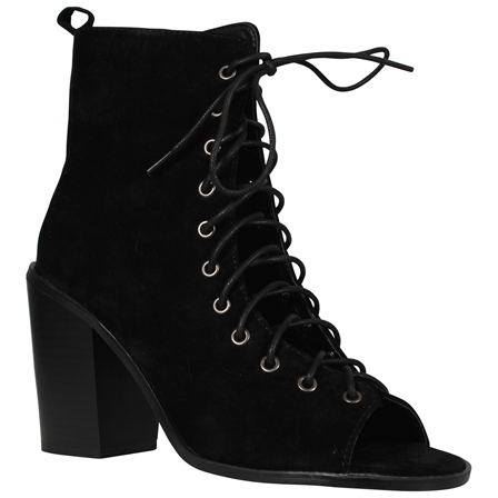 DON LADIES WOMENS ANKLE BOOTS LADIES BLOCK HEELS CUT OUT PEEP TOE LACE UP SHOES IN BLACK SUEDE