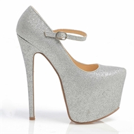 VIDA VERY HIGH STILETTO HEEL STRAPPED GOLD BUCKLE CONCEALED PLATFORM SHOES IN SILVER GLITTER