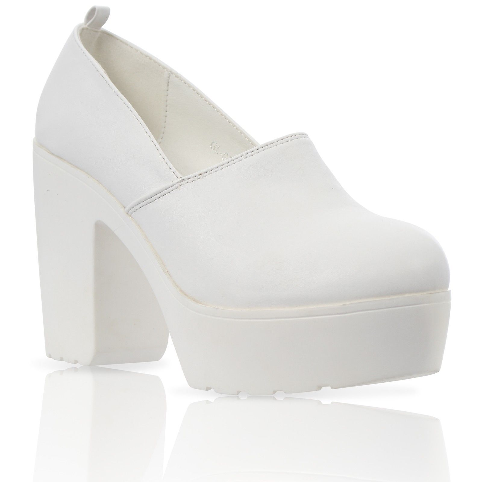 712be7a4742 GL05 LADIES CLEATED LOOKED SOLE CHUNKY BLOCK HEEL PLATFORM COURT SHOES