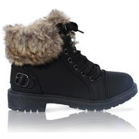 MK-30 LADIES FURLINED GRIP SOLE WINTER WARM ANKLE BOOTS IN BLACK