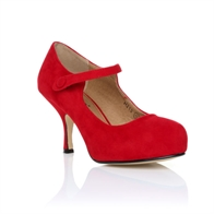 H213 LADIES NEW STRAP LOW HEEL CASUAL SMART WORK COURT SHOES IN RED SUEDE